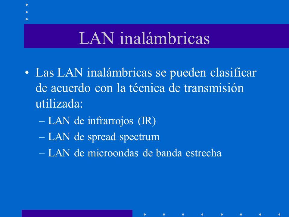 Las LAN inalámbricas se pueden clasificar de acuerdo con la técnica de transmisión utilizada: –LAN de infrarrojos (IR) –LAN de spread spectrum –LAN de
