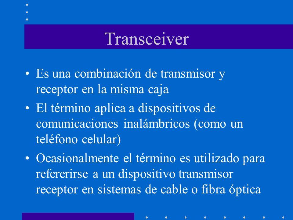 Transceiver Es una combinación de transmisor y receptor en la misma caja El término aplica a dispositivos de comunicaciones inalámbricos (como un telé