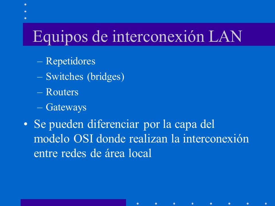 Equipos de interconexión LAN –Repetidores –Switches (bridges) –Routers –Gateways Se pueden diferenciar por la capa del modelo OSI donde realizan la in
