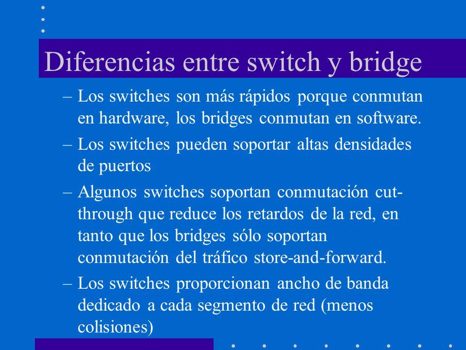 Diferencias entre switch y bridge –Los switches son más rápidos porque conmutan en hardware, los bridges conmutan en software. –Los switches pueden so