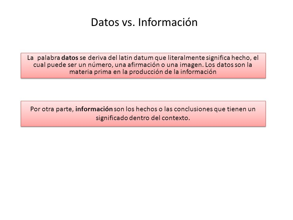 Datos vs. Información La palabra datos se deriva del latin datum que literalmente significa hecho, el cual puede ser un número, una afirmación o una i