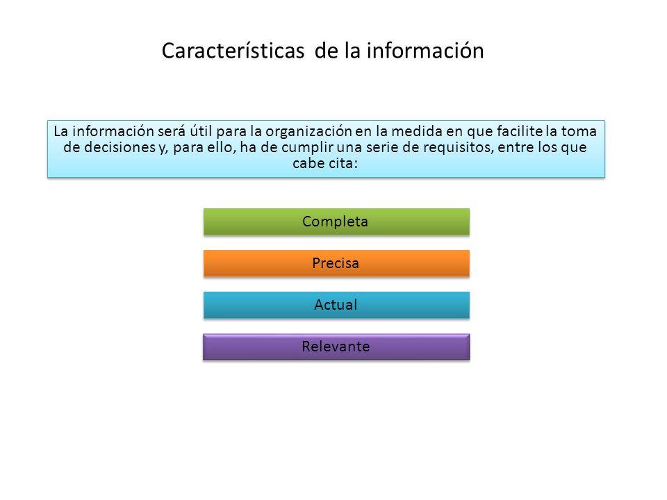 Características de la información La información será útil para la organización en la medida en que facilite la toma de decisiones y, para ello, ha de