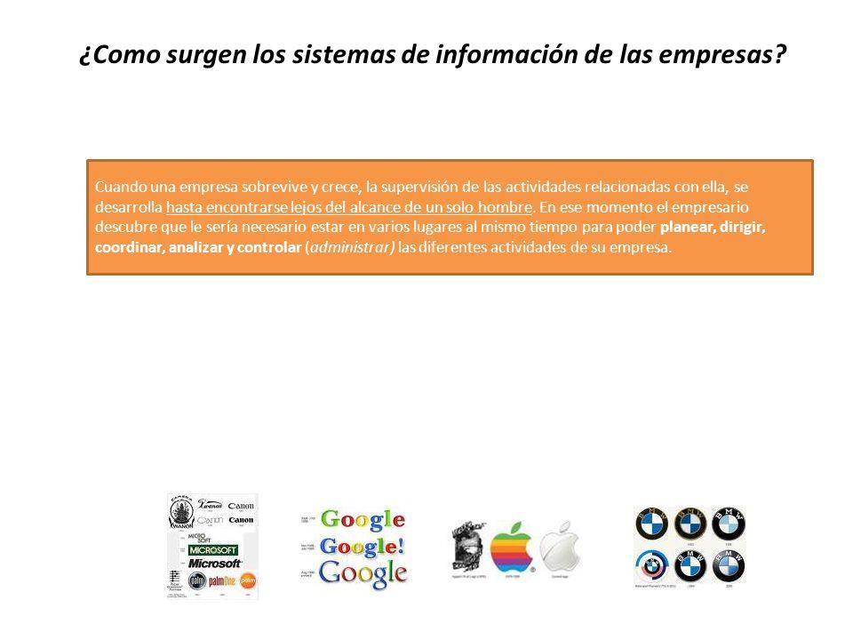 ¿Como surgen los sistemas de información de las empresas? Cuando una empresa sobrevive y crece, la supervisión de las actividades relacionadas con ell