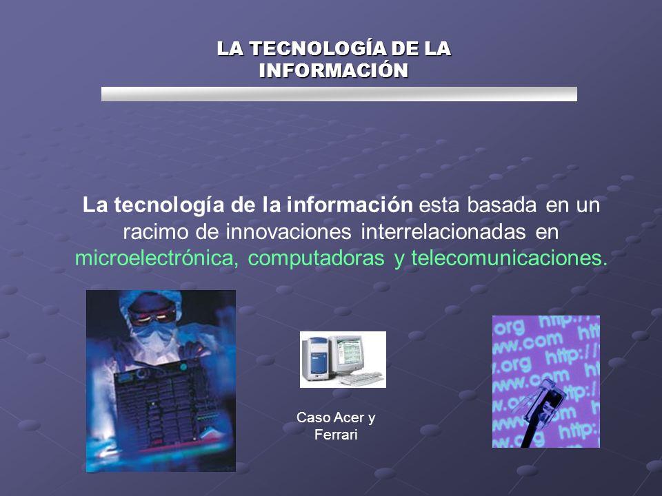 La tecnología de la información esta basada en un racimo de innovaciones interrelacionadas en microelectrónica, computadoras y telecomunicaciones. LA