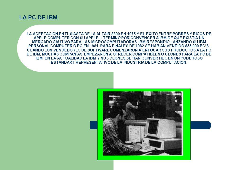 LA PC DE IBM. LA ACEPTACIÓN ENTUSIASTA DE LA ALTAIR 8800 EN 1975 Y EL ÉXITO ENTRE POBRES Y RICOS DE APPLE COMPUTER CON SU APPLE II TERMINO POR CONVENC