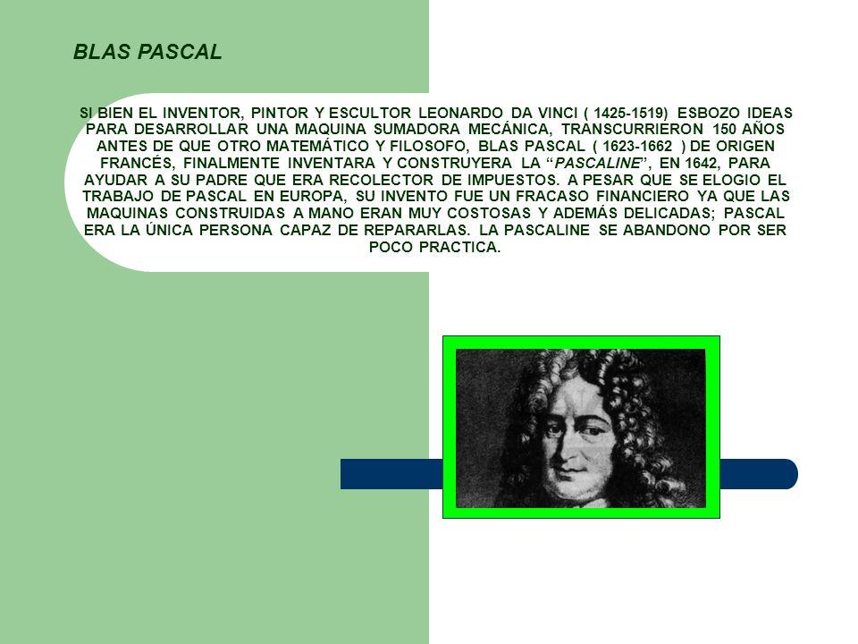 SI BIEN EL INVENTOR, PINTOR Y ESCULTOR LEONARDO DA VINCI ( 1425-1519) ESBOZO IDEAS PARA DESARROLLAR UNA MAQUINA SUMADORA MECÁNICA, TRANSCURRIERON 150