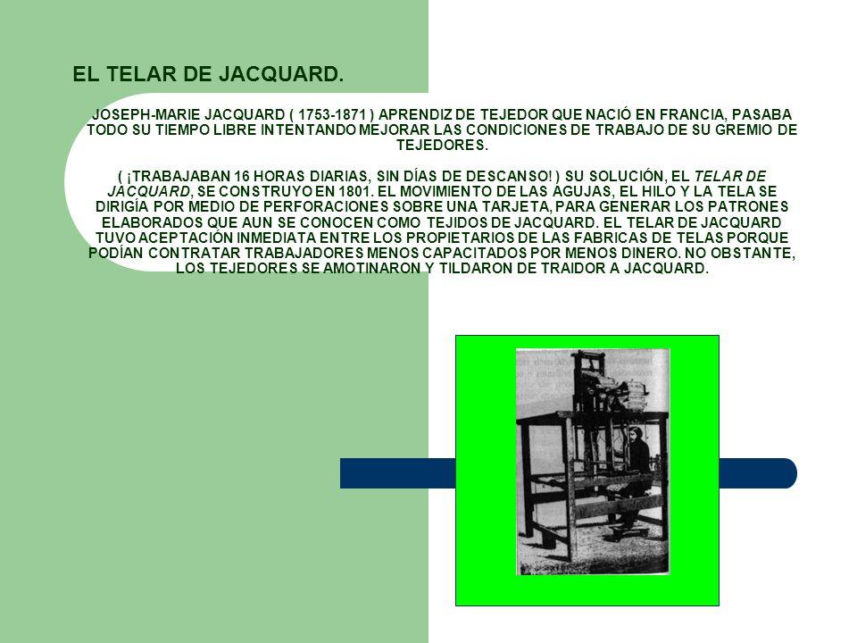 JOSEPH-MARIE JACQUARD ( 1753-1871 ) APRENDIZ DE TEJEDOR QUE NACIÓ EN FRANCIA, PASABA TODO SU TIEMPO LIBRE INTENTANDO MEJORAR LAS CONDICIONES DE TRABAJ