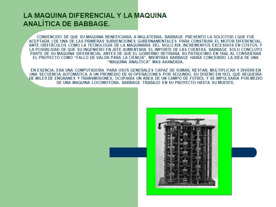 CONVENCIDO DE QUE SU MAQUINA BENEFICIARIA A INGLATERRA, BABBAGE PRESENTO LA SOLICITUD ( QUE FUE ACEPTADA ) DE UNA DE LAS PRIMERAS SUBVENCIONES GUBERNA
