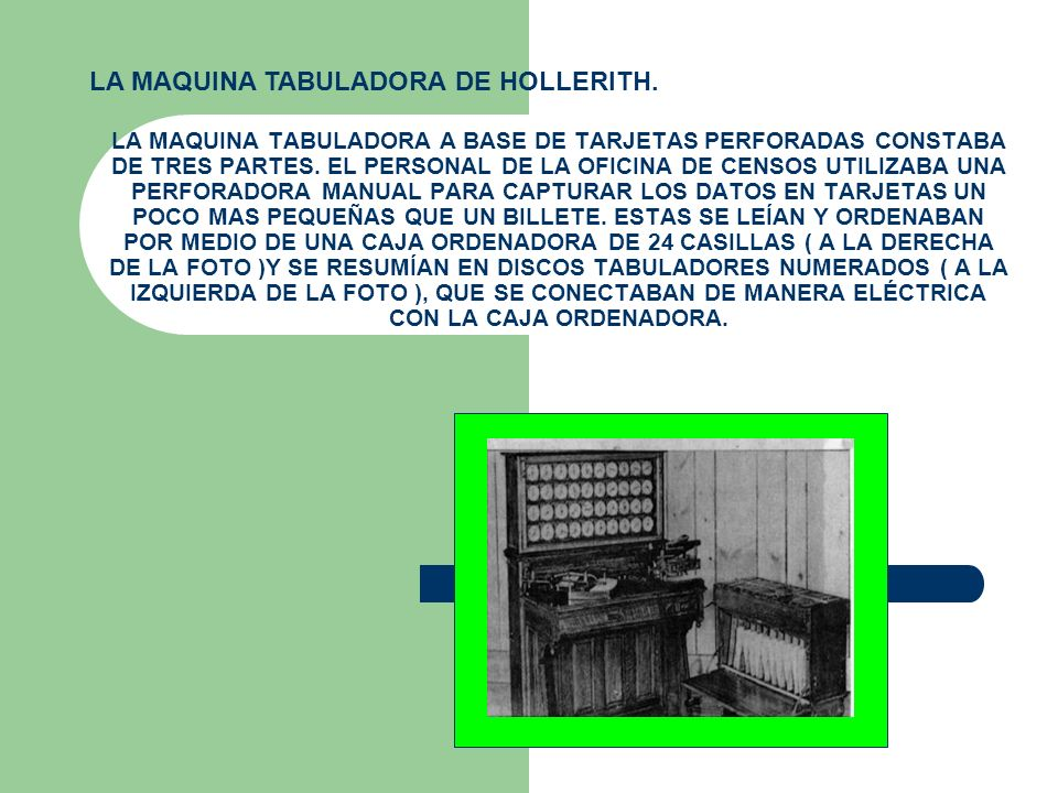 LA MAQUINA TABULADORA A BASE DE TARJETAS PERFORADAS CONSTABA DE TRES PARTES. EL PERSONAL DE LA OFICINA DE CENSOS UTILIZABA UNA PERFORADORA MANUAL PARA