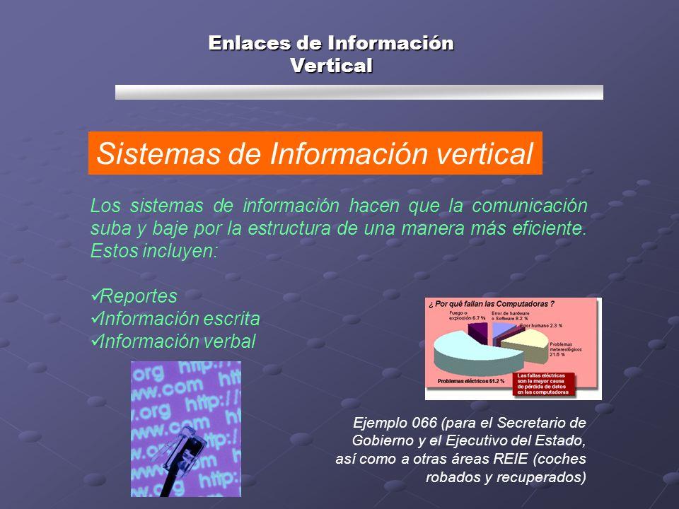 Los sistemas de información hacen que la comunicación suba y baje por la estructura de una manera más eficiente. Estos incluyen: Reportes Información