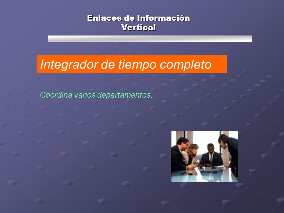 Coordina varios departamentos. Integrador de tiempo completo Enlaces de Información Vertical