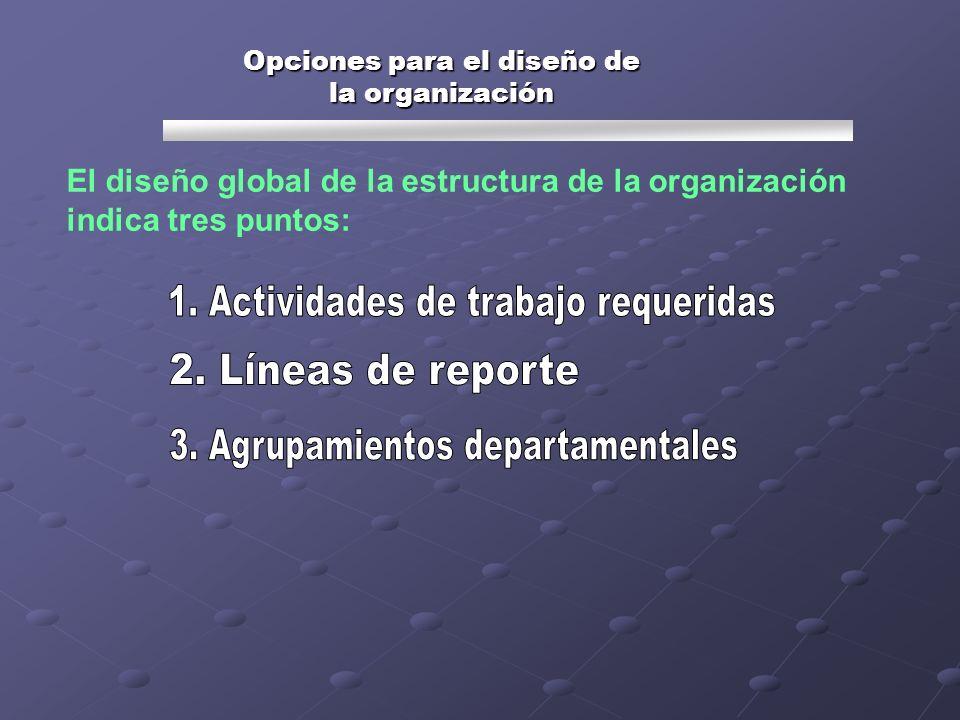 Opciones para el diseño de la organización El diseño global de la estructura de la organización indica tres puntos:
