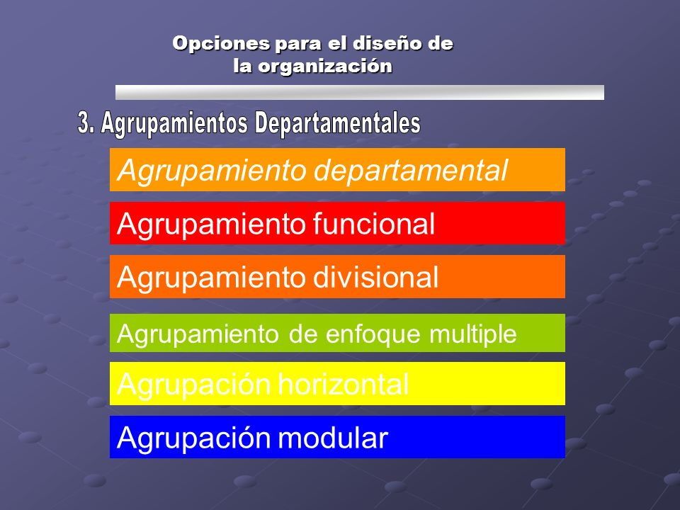 Opciones para el diseño de la organización Agrupamiento departamental Agrupamiento funcional Agrupamiento divisional Agrupamiento de enfoque multiple
