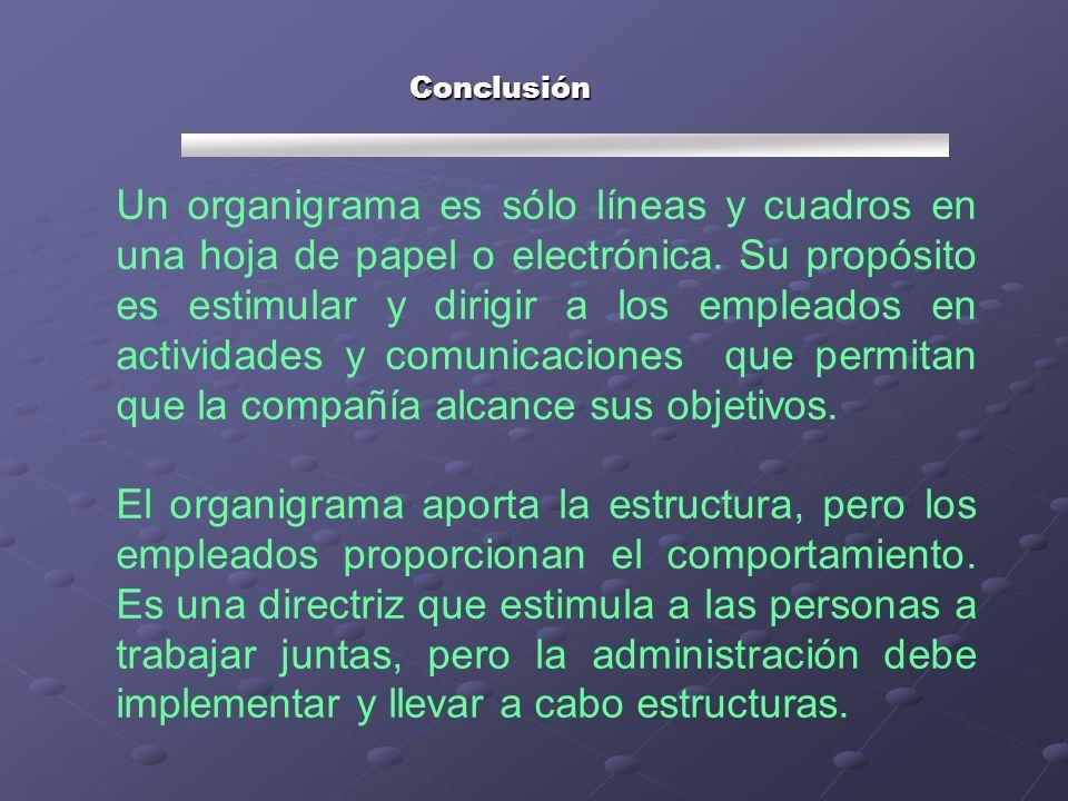Un organigrama es sólo líneas y cuadros en una hoja de papel o electrónica. Su propósito es estimular y dirigir a los empleados en actividades y comun