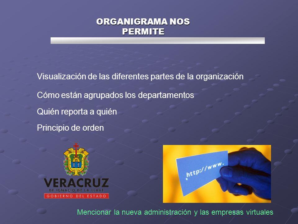 Visualización de las diferentes partes de la organización Cómo están agrupados los departamentos Quién reporta a quién Principio de orden Mencionar la