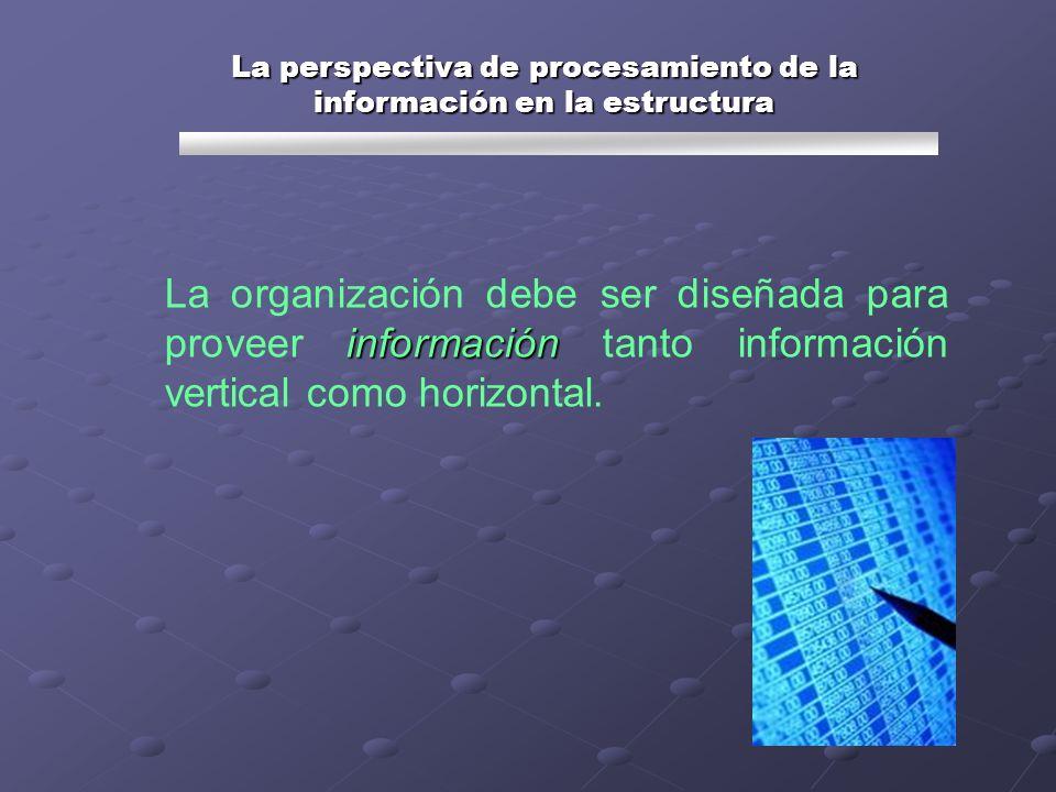 información La organización debe ser diseñada para proveer información tanto información vertical como horizontal. La perspectiva de procesamiento de