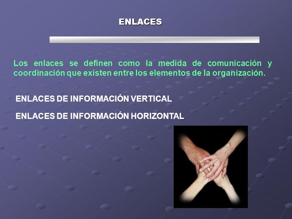ENLACES Los enlaces se definen como la medida de comunicación y coordinación que existen entre los elementos de la organización. ENLACES DE INFORMACIÓ