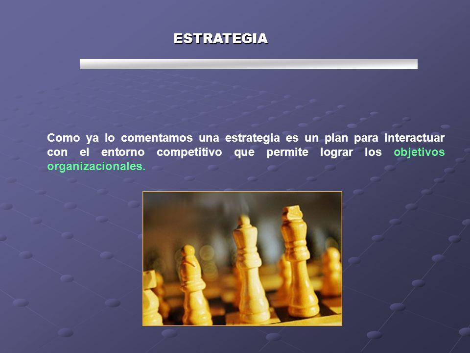 Como ya lo comentamos una estrategia es un plan para interactuar con el entorno competitivo que permite lograr los objetivos organizacionales. ESTRATE