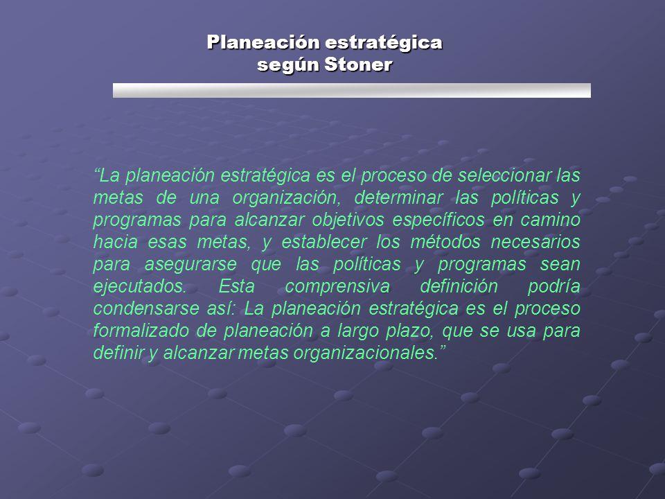 La planeación estratégica es el proceso de seleccionar las metas de una organización, determinar las políticas y programas para alcanzar objetivos esp