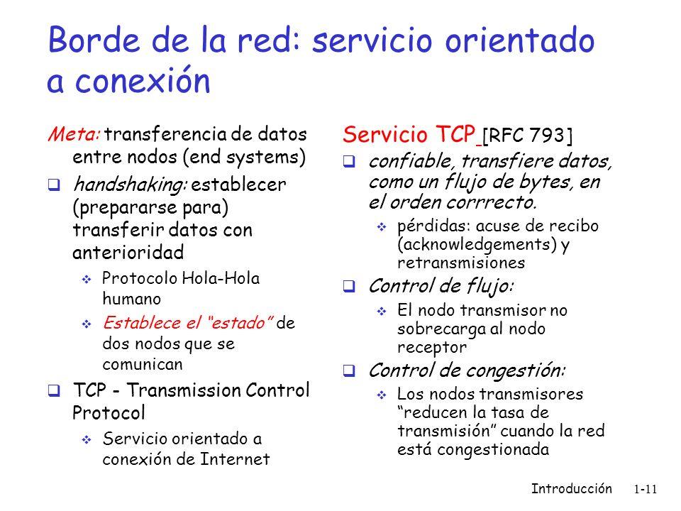 Borde de la red: servicio orientado a conexión Meta: transferencia de datos entre nodos (end systems) handshaking: establecer (prepararse para) transf