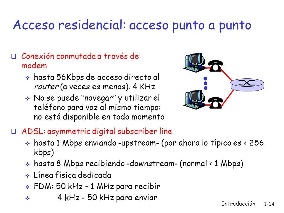 Introducción 1-14 Acceso residencial: acceso punto a punto Conexión conmutada a través de modem hasta 56Kbps de acceso directo al router (a veces es m