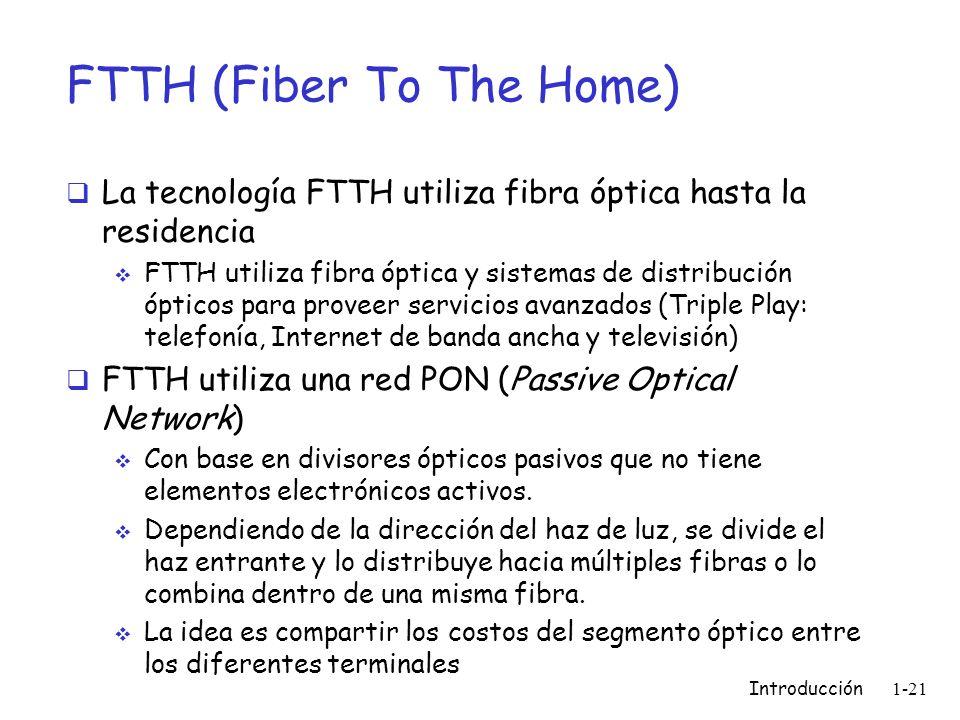 FTTH (Fiber To The Home) La tecnología FTTH utiliza fibra óptica hasta la residencia FTTH utiliza fibra óptica y sistemas de distribución ópticos para