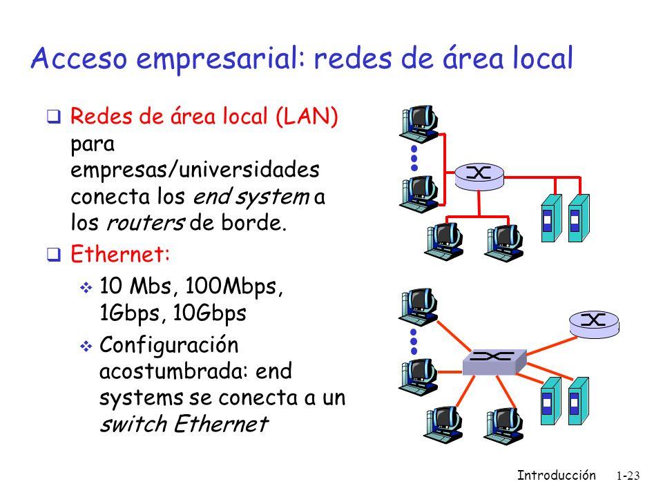 Introducción 1-23 Acceso empresarial: redes de área local Redes de área local (LAN) para empresas/universidades conecta los end system a los routers d