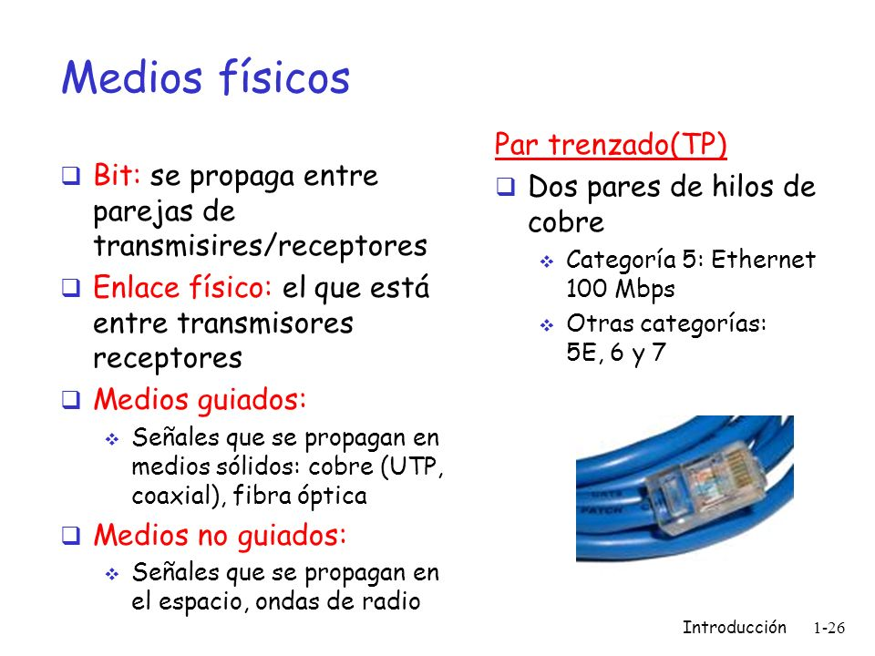Introducción 1-26 Medios físicos Bit: se propaga entre parejas de transmisires/receptores Enlace físico: el que está entre transmisores receptores Med