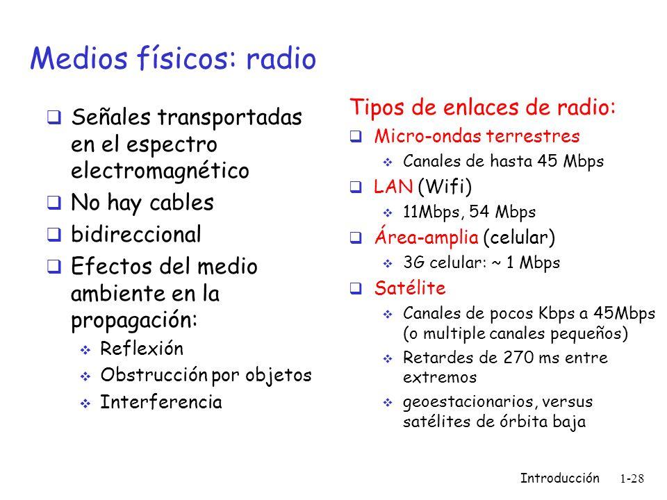 Introducción 1-28 Medios físicos: radio Señales transportadas en el espectro electromagnético No hay cables bidireccional Efectos del medio ambiente e