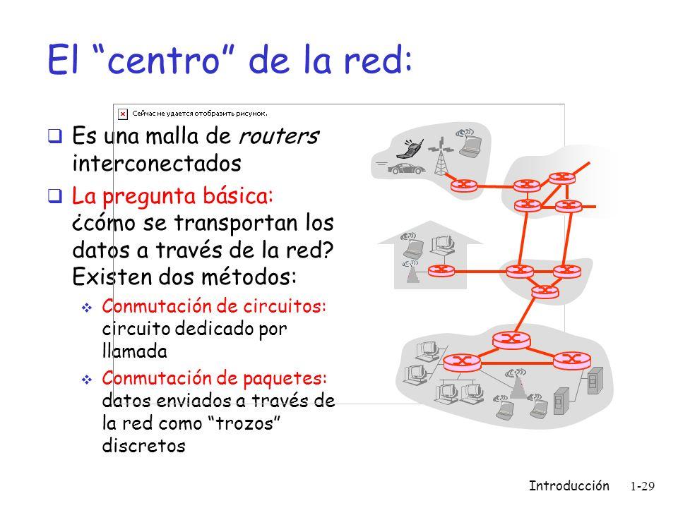 Introducción 1-29 El centro de la red: Es una malla de routers interconectados La pregunta básica: ¿cómo se transportan los datos a través de la red?