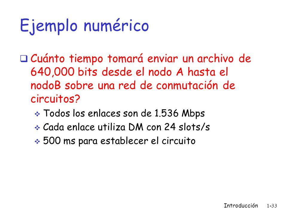Introducción 1-33 Ejemplo numérico Cuánto tiempo tomará enviar un archivo de 640,000 bits desde el nodo A hasta el nodoB sobre una red de conmutación