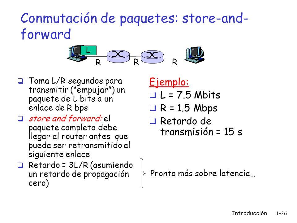 Introducción 1-36 Conmutación de paquetes: store-and- forward Toma L/R segundos para transmitir (empujar) un paquete de L bits a un enlace de R bps st
