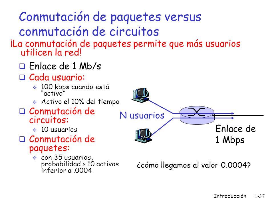 Introducción 1-37 Conmutación de paquetes versus conmutación de circuitos Enlace de 1 Mb/s Cada usuario: 100 kbps cuando está activo Activo el 10% del