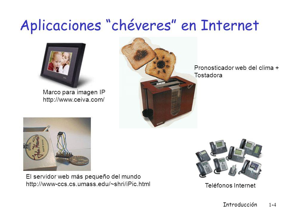 Introducción 1-4 Aplicaciones chéveres en Internet El servidor web más pequeño del mundo http://www-ccs.cs.umass.edu/~shri/iPic.html Marco para imagen