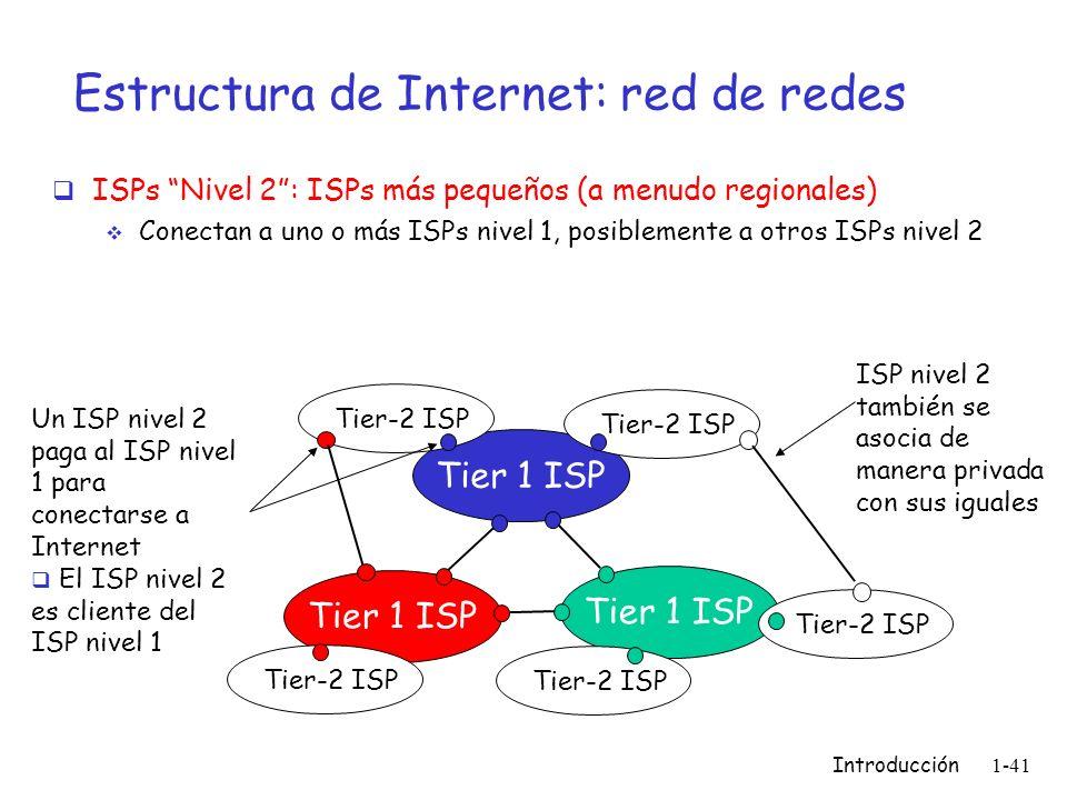 Introducción 1-41 Estructura de Internet: red de redes ISPs Nivel 2: ISPs más pequeños (a menudo regionales) Conectan a uno o más ISPs nivel 1, posibl