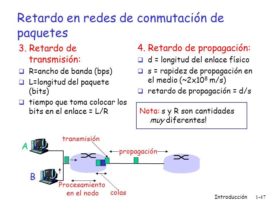 Introducción 1-47 Retardo en redes de conmutación de paquetes 3. Retardo de transmisión: R=ancho de banda (bps) L=longitud del paquete (bits) tiempo q