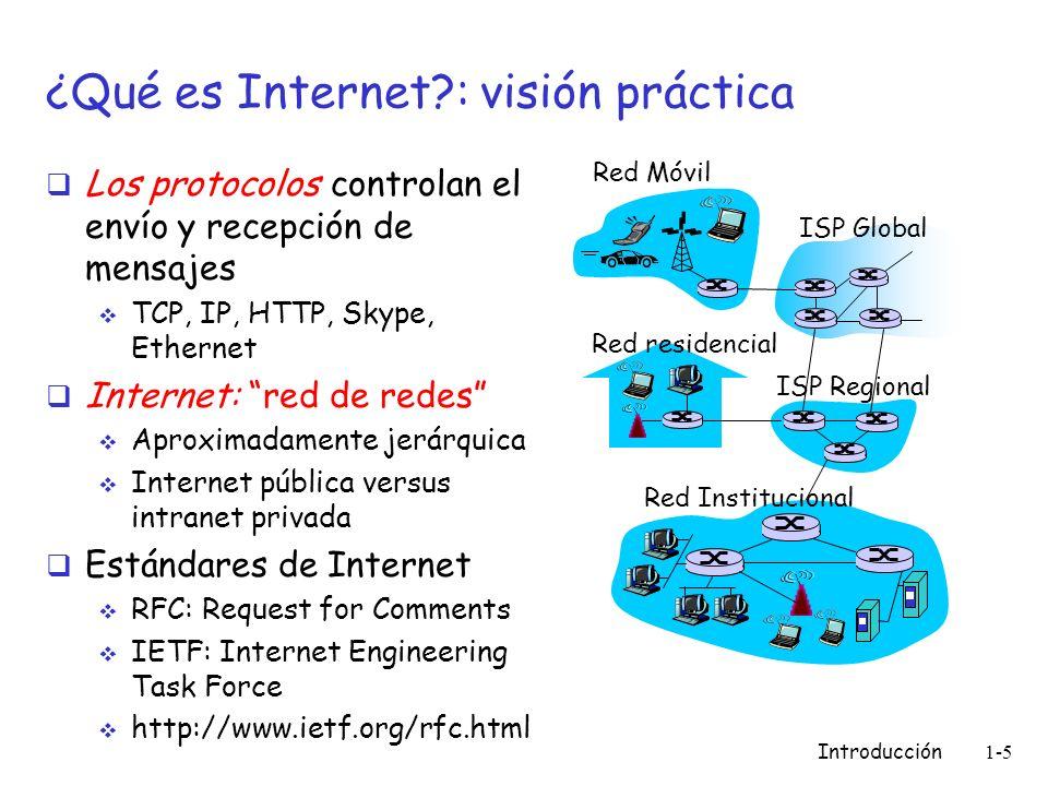 Introducción 1-5 ¿Qué es Internet?: visión práctica Los protocolos controlan el envío y recepción de mensajes TCP, IP, HTTP, Skype, Ethernet Internet: