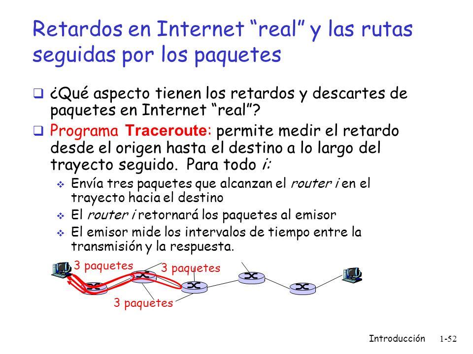 Introducción 1-52 Retardos en Internet real y las rutas seguidas por los paquetes ¿Qué aspecto tienen los retardos y descartes de paquetes en Internet
