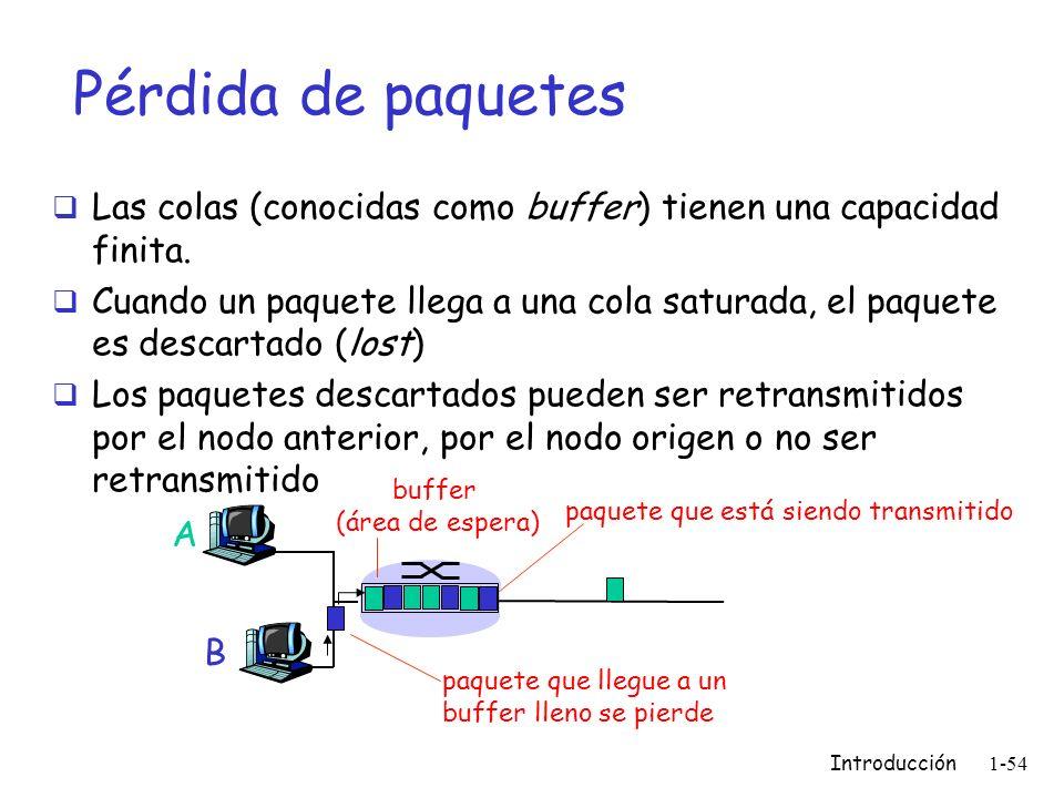 Introducción 1-54 Pérdida de paquetes Las colas (conocidas como buffer) tienen una capacidad finita. Cuando un paquete llega a una cola saturada, el p