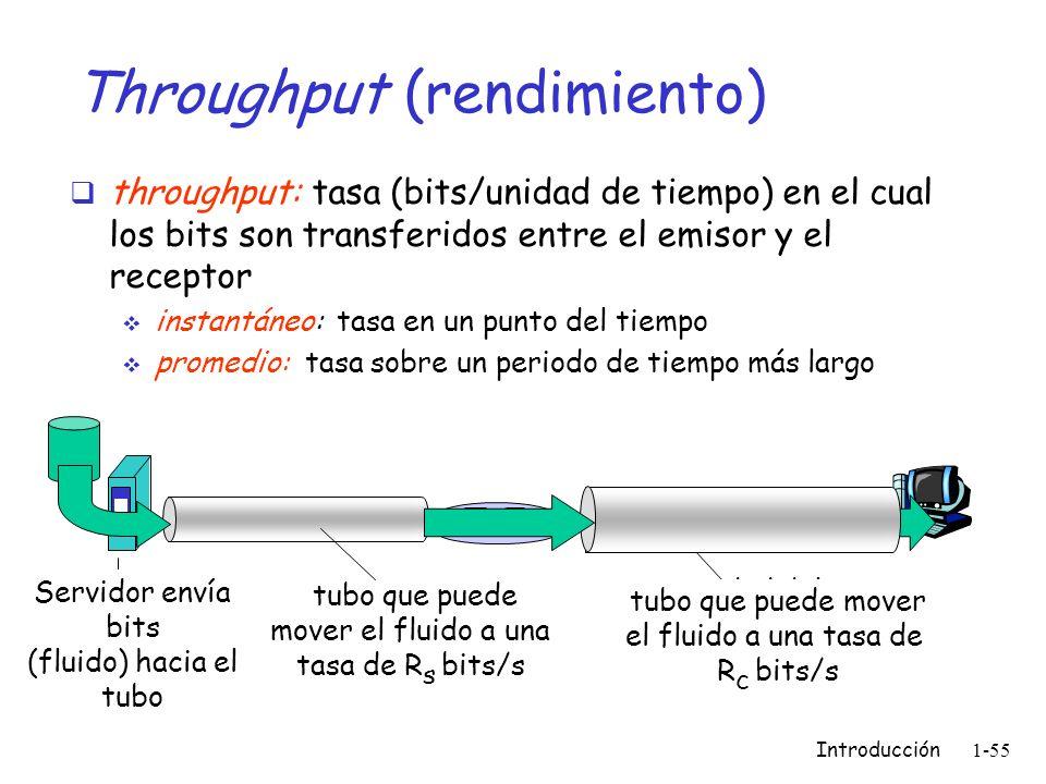 Introducción 1-55 Throughput (rendimiento) throughput: tasa (bits/unidad de tiempo) en el cual los bits son transferidos entre el emisor y el receptor