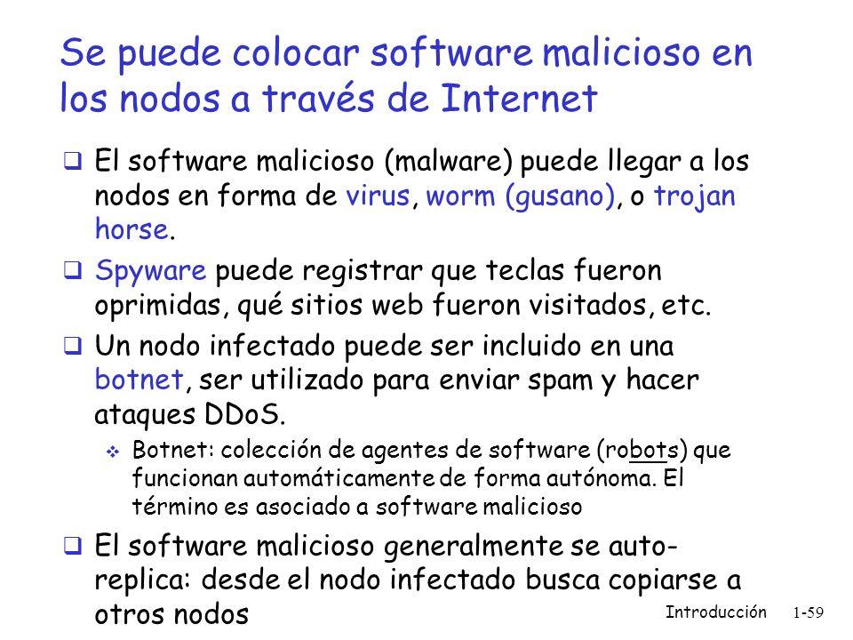 Introducción 1-59 Se puede colocar software malicioso en los nodos a través de Internet El software malicioso (malware) puede llegar a los nodos en fo
