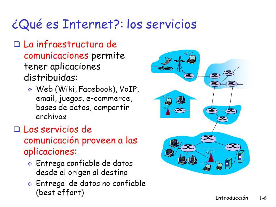 Introducción 1-6 ¿Qué es Internet?: los servicios La infraestructura de comunicaciones permite tener aplicaciones distribuidas: Web (Wiki, Facebook),