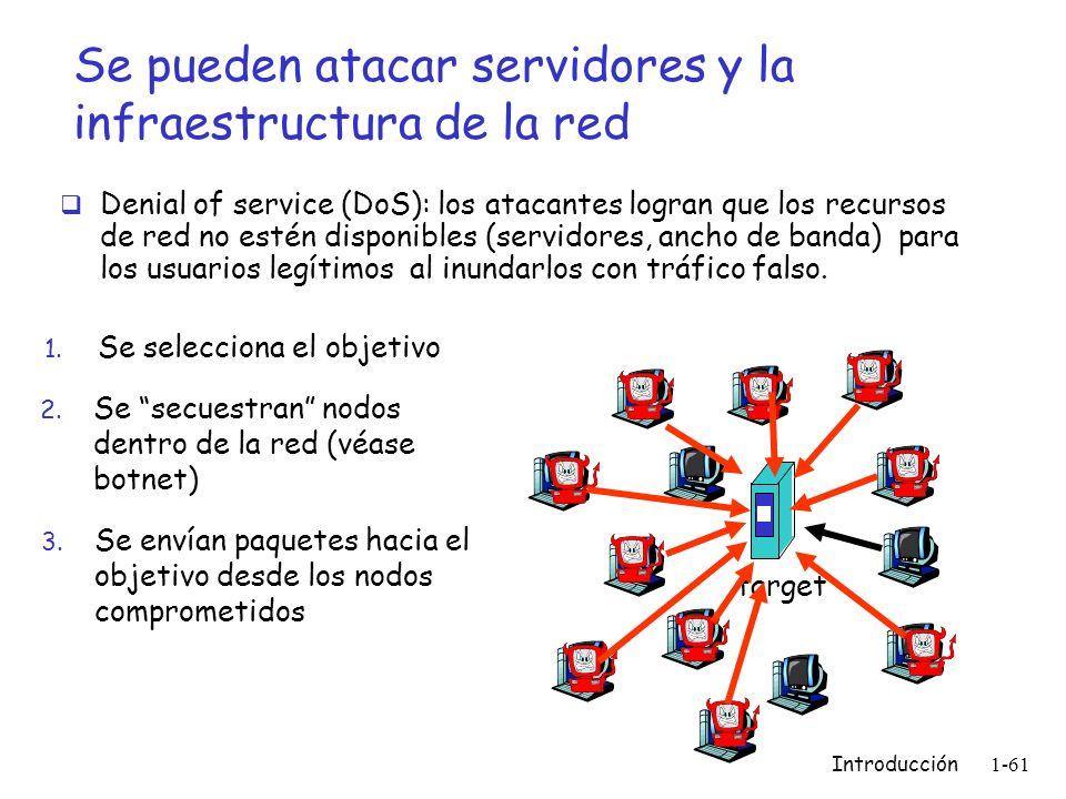 Introducción 1-61 Se pueden atacar servidores y la infraestructura de la red Denial of service (DoS): los atacantes logran que los recursos de red no