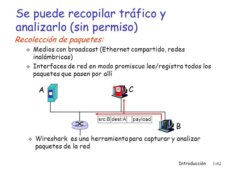 Introducción 1-62 Se puede recopilar tráfico y analizarlo (sin permiso) Recolección de paquetes: Medios con broadcast (Ethernet compartido, redes inal