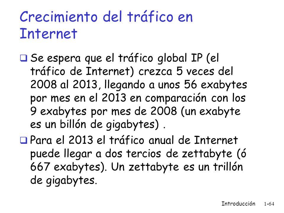 Crecimiento del tráfico en Internet Se espera que el tráfico global IP (el tráfico de Internet) crezca 5 veces del 2008 al 2013, llegando a unos 56 ex