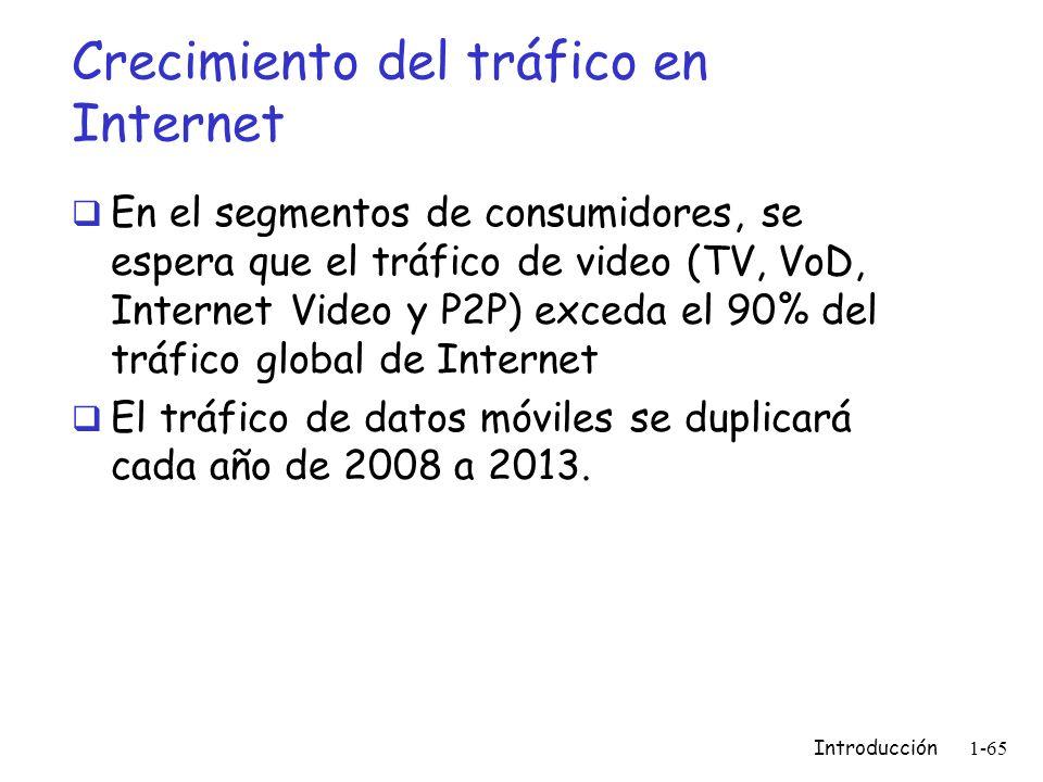 Crecimiento del tráfico en Internet En el segmentos de consumidores, se espera que el tráfico de video (TV, VoD, Internet Video y P2P) exceda el 90% d