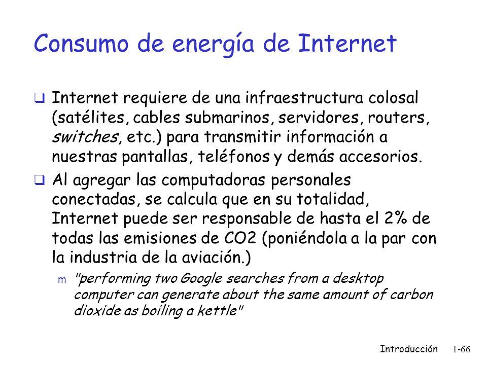 Consumo de energía de Internet Internet requiere de una infraestructura colosal (satélites, cables submarinos, servidores, routers, switches, etc.) pa