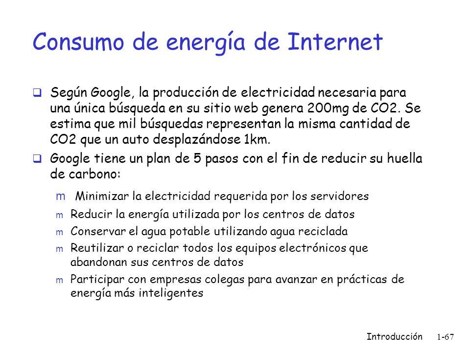 Consumo de energía de Internet Según Google, la producción de electricidad necesaria para una única búsqueda en su sitio web genera 200mg de CO2. Se e
