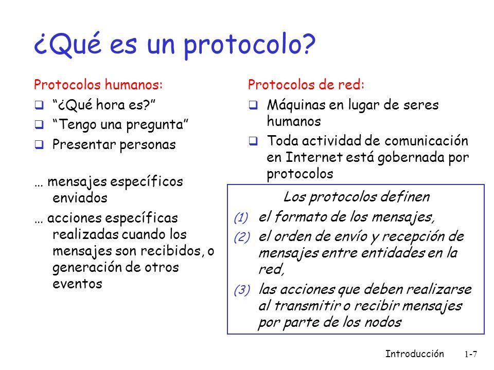Introducción 1-7 ¿Qué es un protocolo? Protocolos humanos: ¿Qué hora es? Tengo una pregunta Presentar personas … mensajes específicos enviados … accio