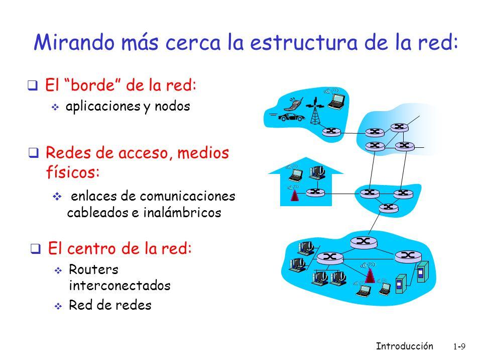 Introducción 1-9 Mirando más cerca la estructura de la red: El borde de la red: aplicaciones y nodos Redes de acceso, medios físicos: enlaces de comun